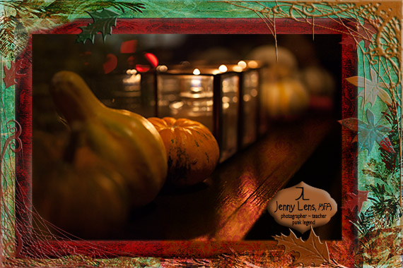 Autumn Image of Gourds and Candles: Photoshop, Clip Art and My Photo